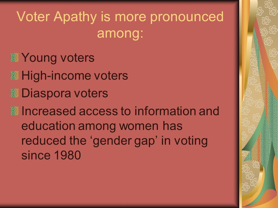 Voter Apathy is more pronounced among: