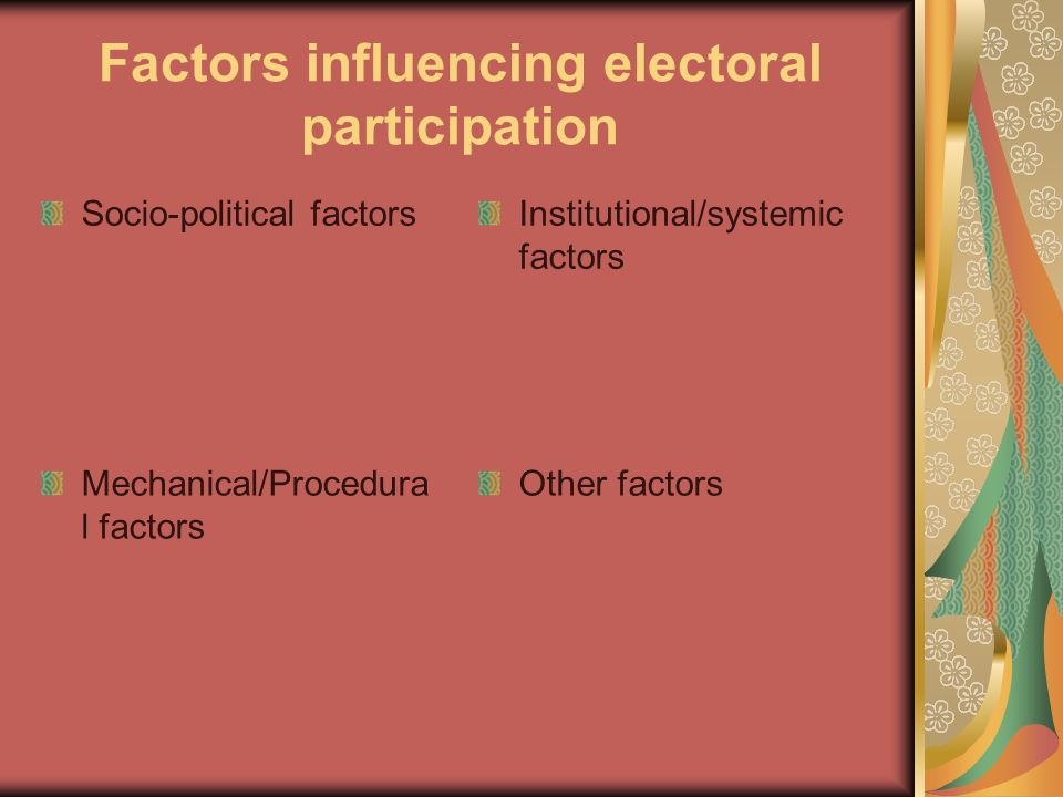 Factors influencing electoral participation