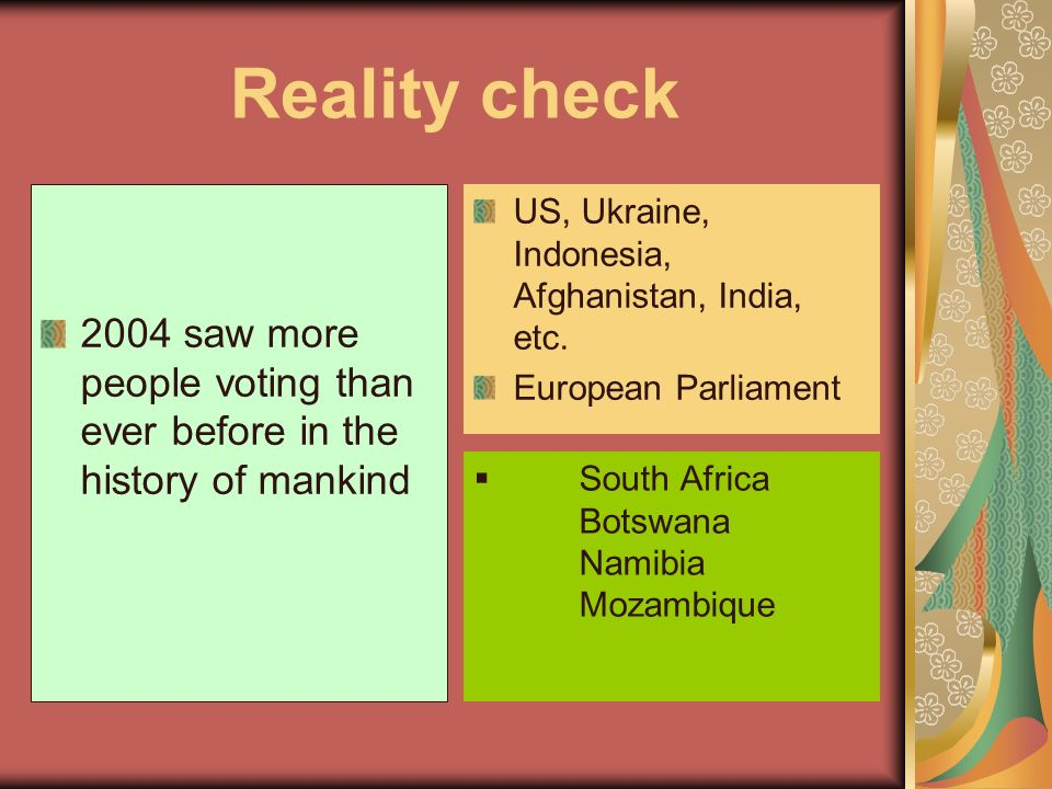 Reality check 2004 saw more people voting than ever before in the history of mankind. US, Ukraine, Indonesia, Afghanistan, India, etc.