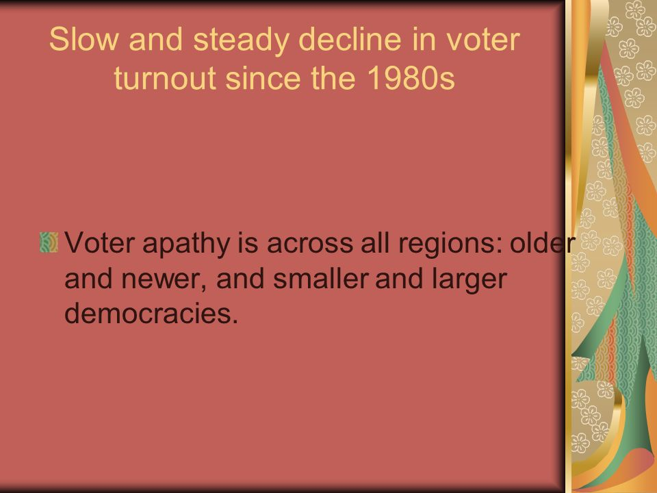 Slow and steady decline in voter turnout since the 1980s