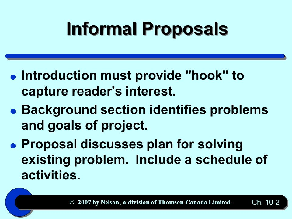 Proposals And Formal Reports  Ppt Downloadinformal Proposal