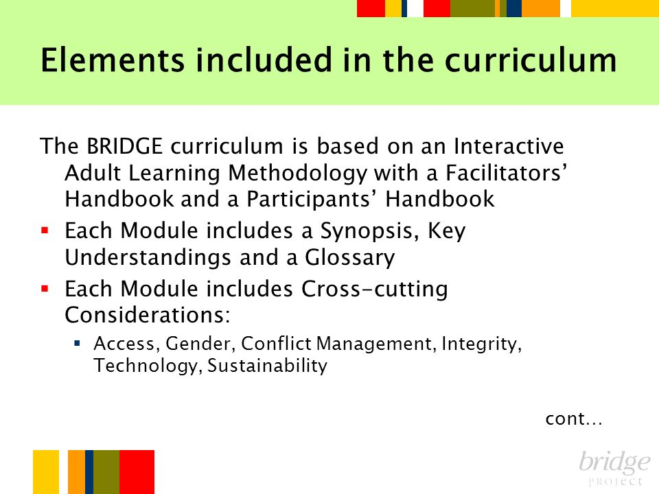 Elements included in the curriculum