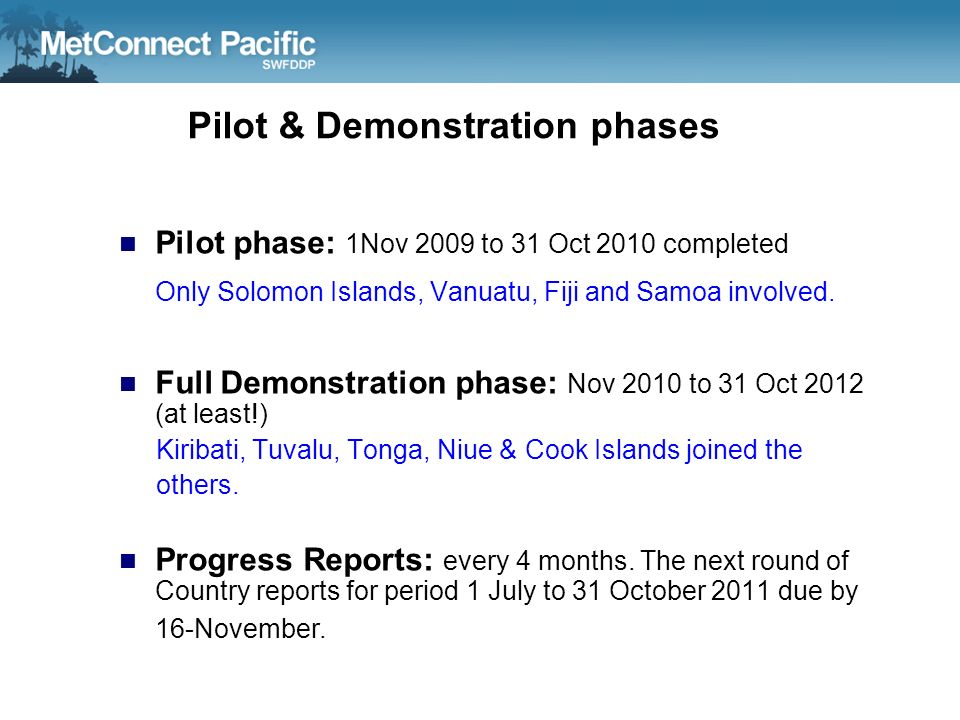 Pilot & Demonstration phases