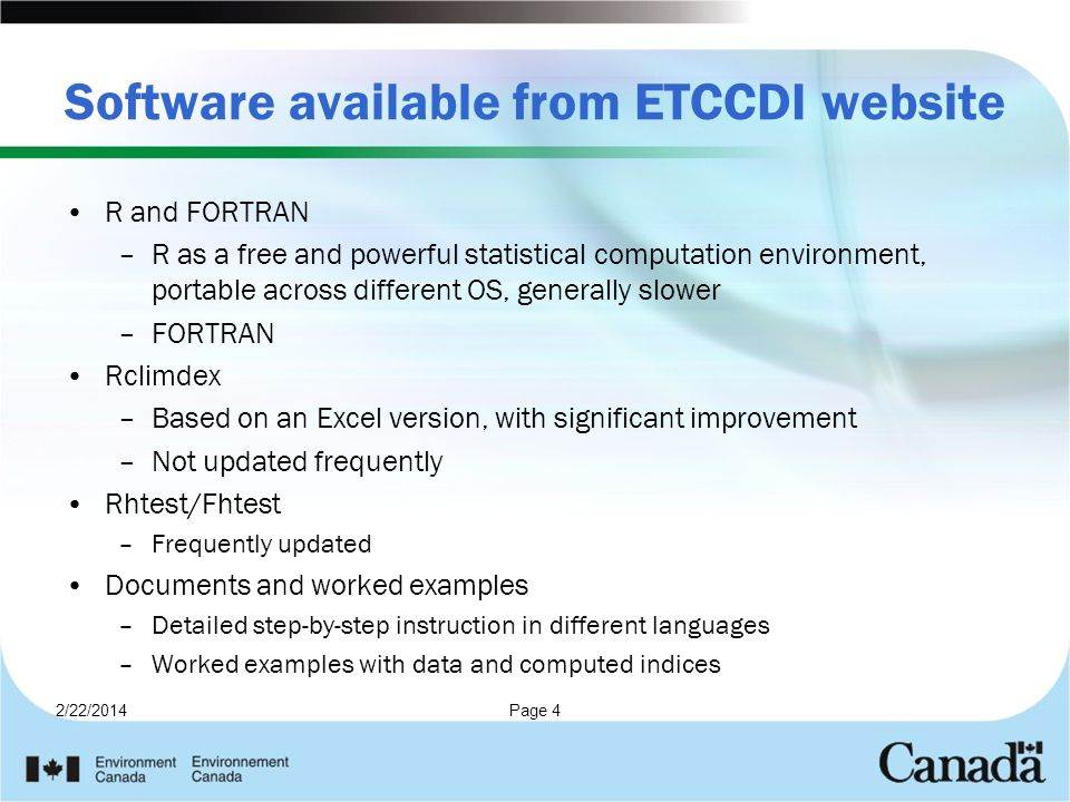 Software available from ETCCDI website