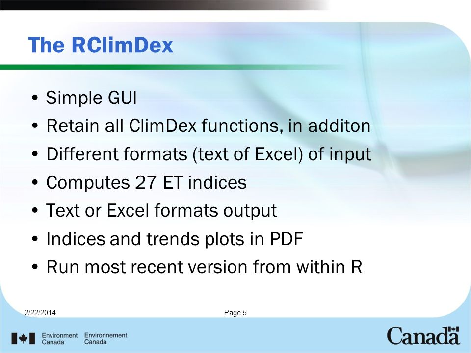 The RClimDex Simple GUI Retain all ClimDex functions, in additon