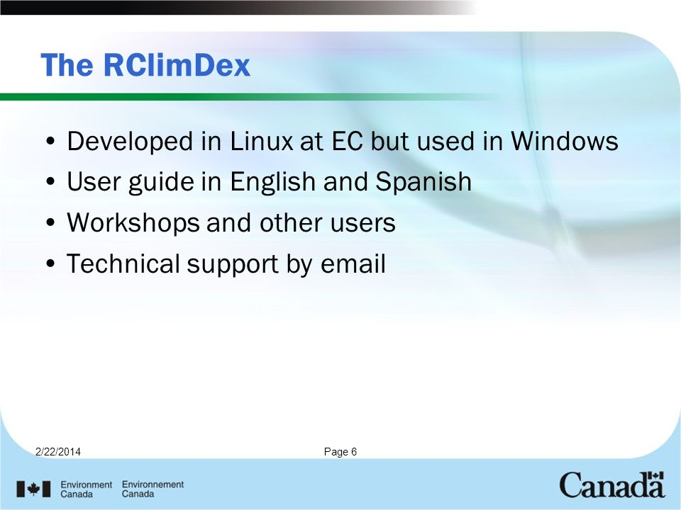 The RClimDex Developed in Linux at EC but used in Windows