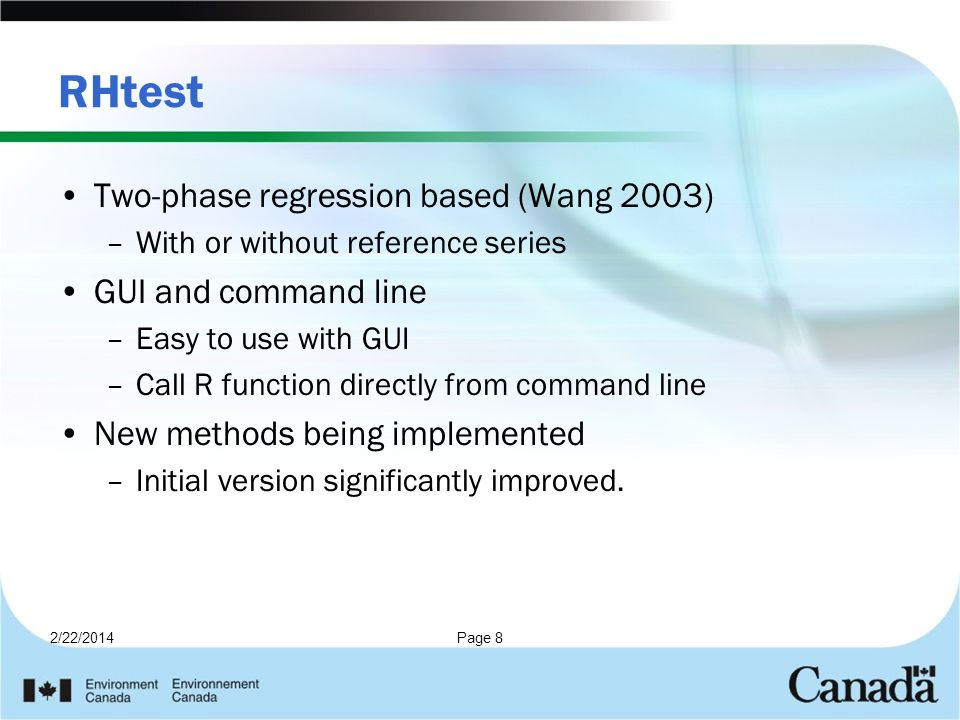 RHtest Two-phase regression based (Wang 2003) GUI and command line