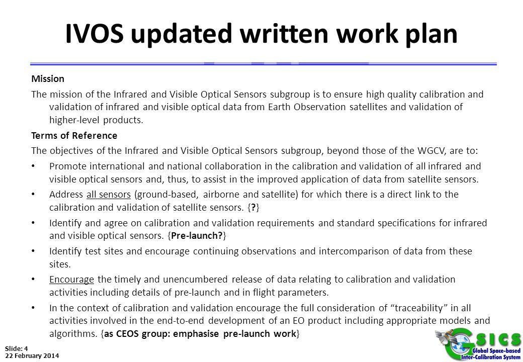 IVOS updated written work plan