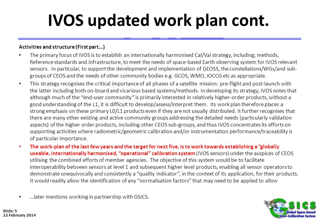 IVOS updated work plan cont.