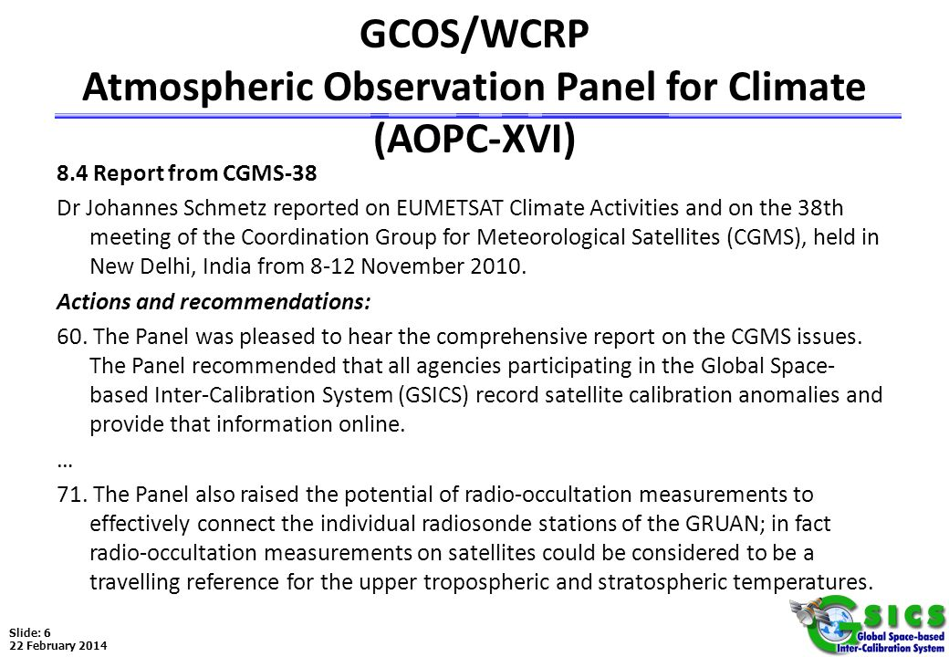 GCOS/WCRP Atmospheric Observation Panel for Climate (AOPC-XVI)