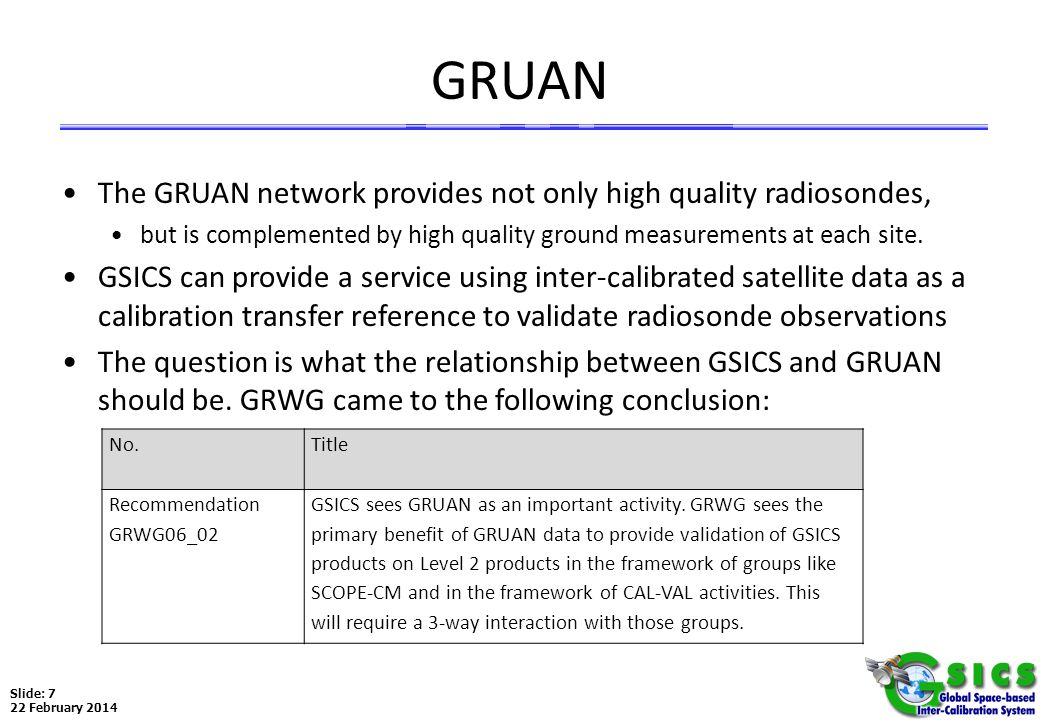 GRUAN The GRUAN network provides not only high quality radiosondes,
