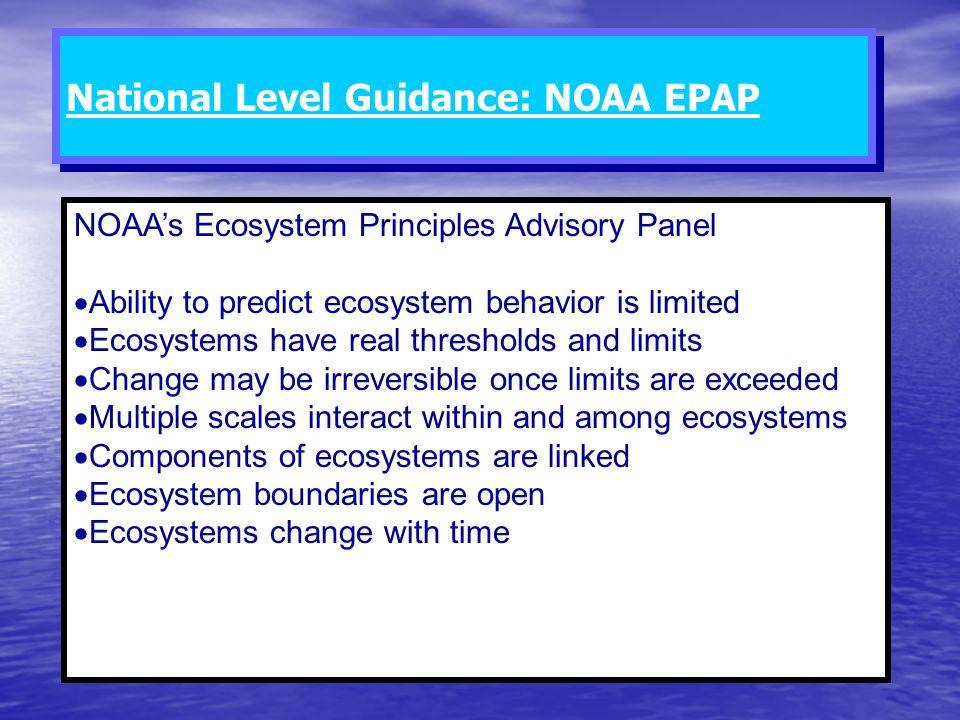 National Level Guidance: NOAA EPAP