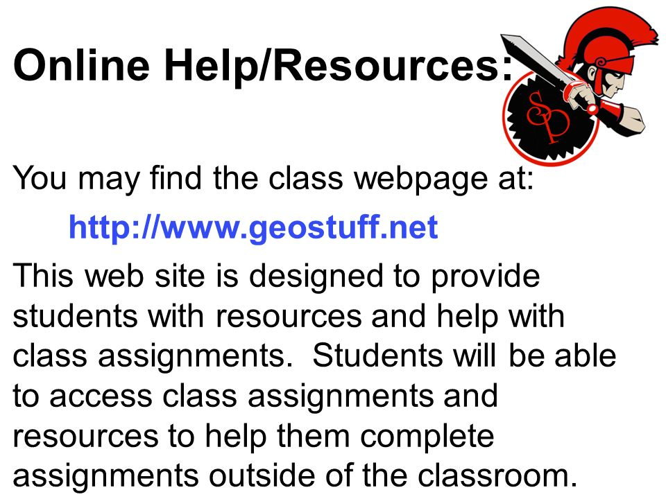 Online Help/Resources: