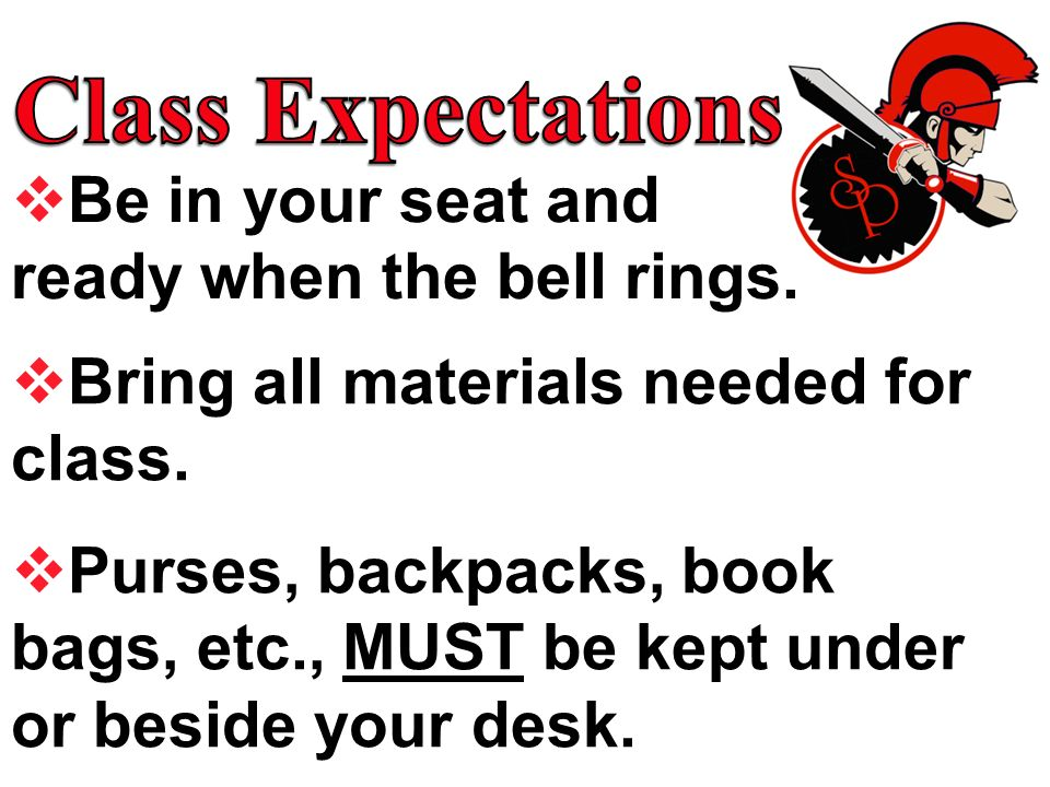 Class Expectations Be in your seat and ready when the bell rings.