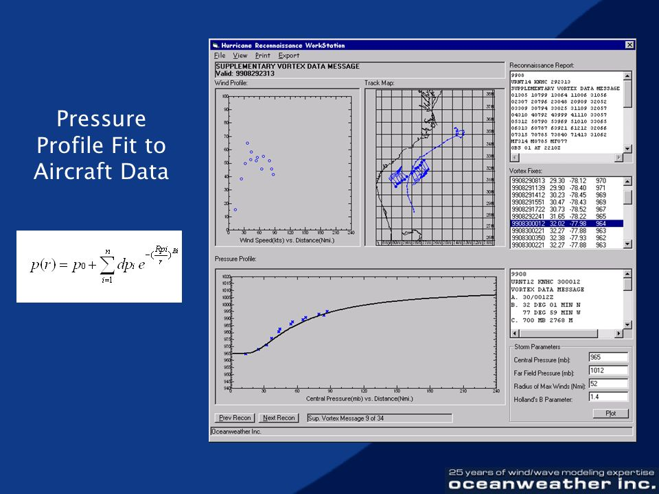 Pressure Profile Fit to Aircraft Data