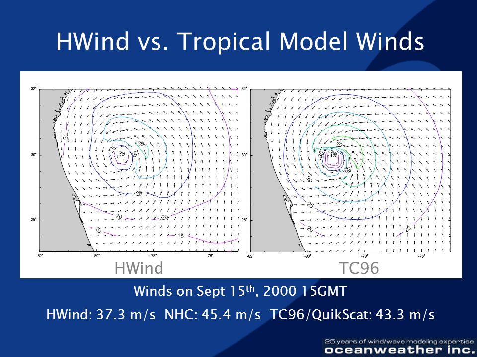 HWind vs. Tropical Model Winds