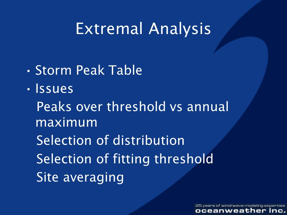 Extremal Analysis Storm Peak Table Issues