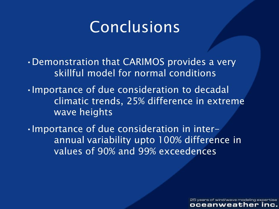 Conclusions Demonstration that CARIMOS provides a very skillful model for normal conditions.