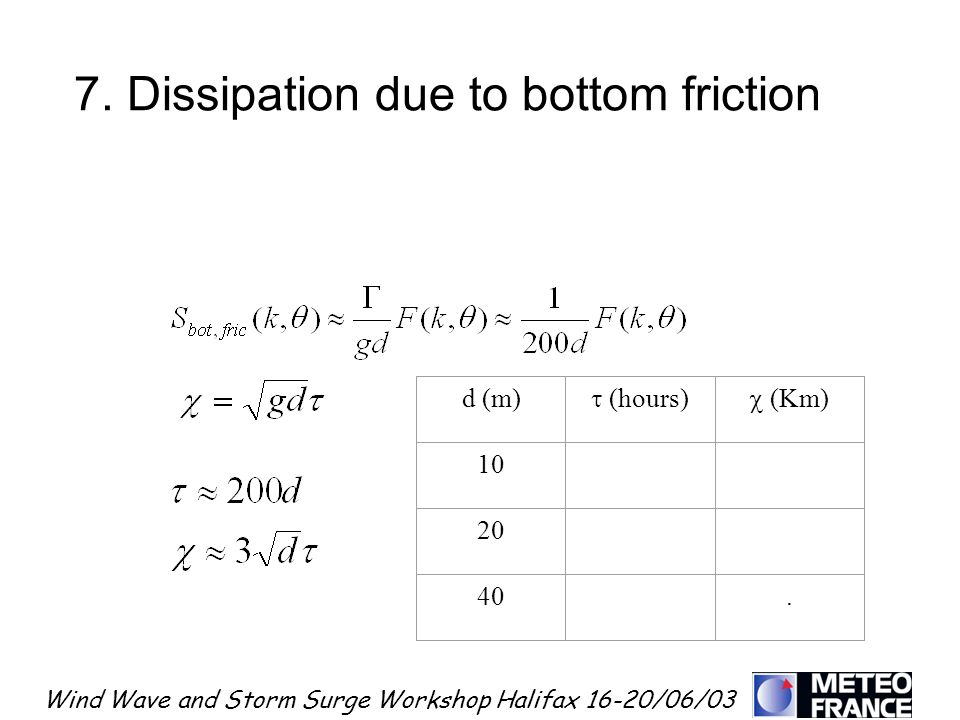 7. Dissipation due to bottom friction