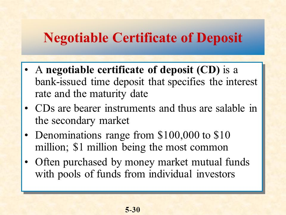 Chapter five money markets mcgraw hillirwin ppt download negotiable certificate of deposit yelopaper Choice Image
