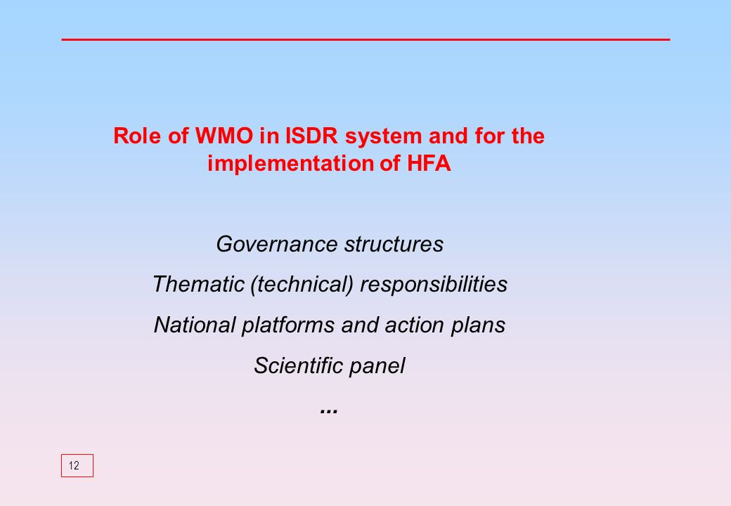 Role of WMO in ISDR system and for the implementation of HFA