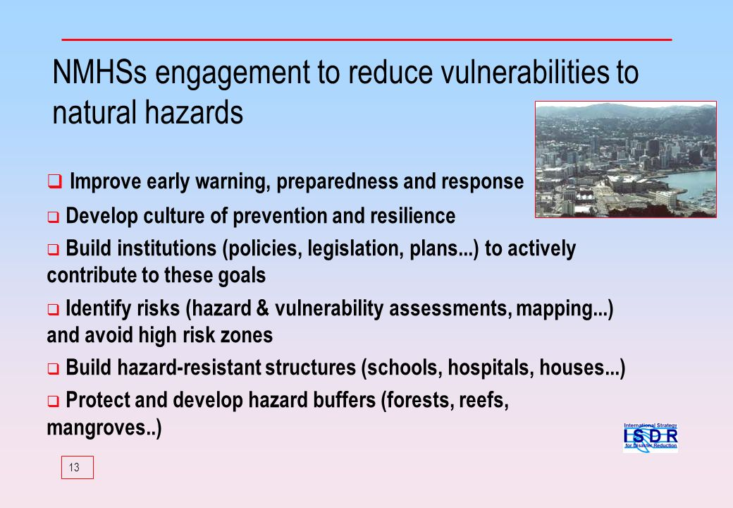 NMHSs engagement to reduce vulnerabilities to natural hazards