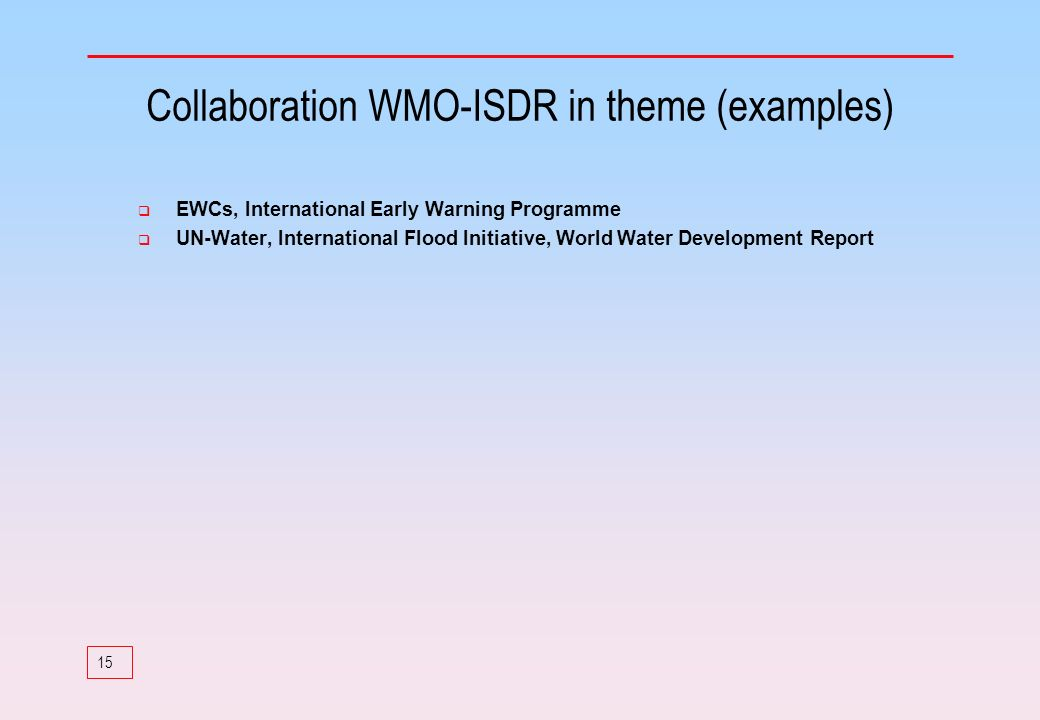 Collaboration WMO-ISDR in theme (examples)