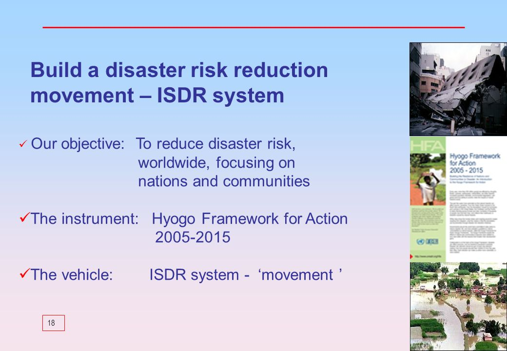 Build a disaster risk reduction movement – ISDR system