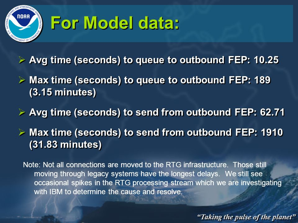 For Model data: Avg time (seconds) to queue to outbound FEP: 10.25