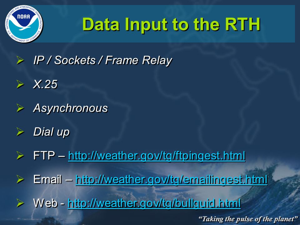 Data Input to the RTH IP / Sockets / Frame Relay X.25 Asynchronous