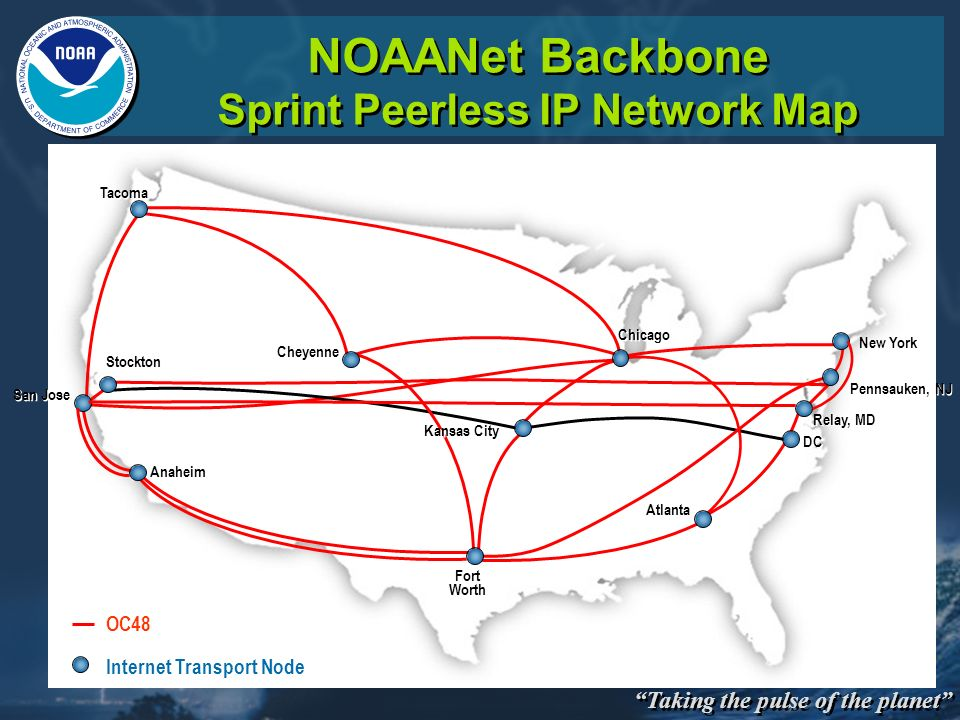 NOAANet Backbone Sprint Peerless IP Network Map