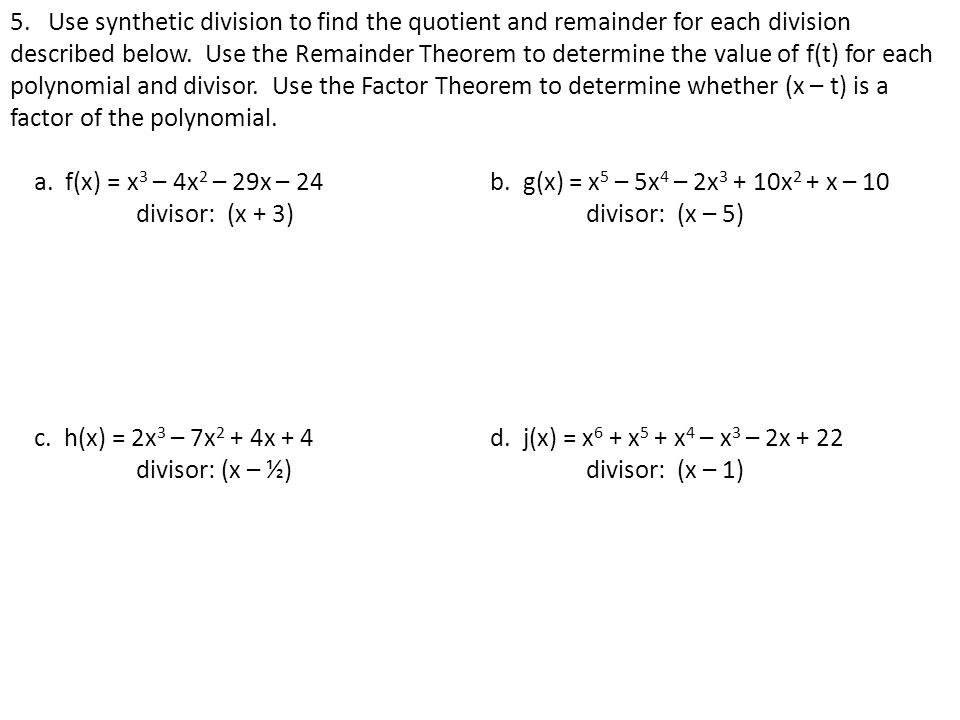 MM3A3 Students will solve a variety of equations and inequalities – The Remainder Theorem Worksheet