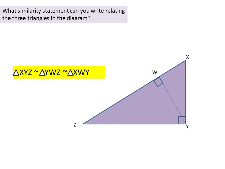 Write a similarity statement relating the three triangles