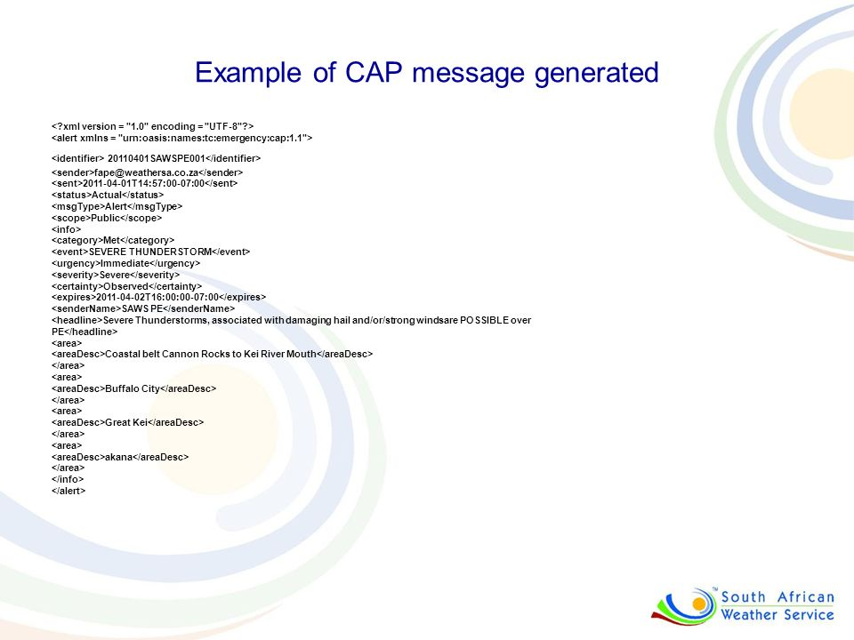 Example of CAP message generated
