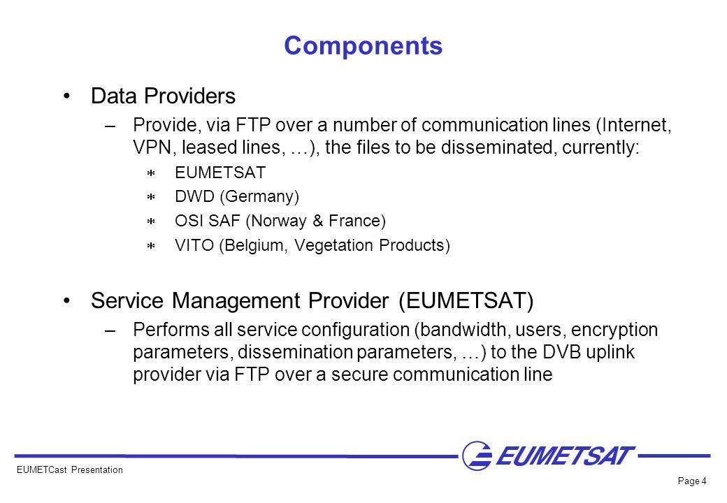 Components Data Providers Service Management Provider (EUMETSAT)