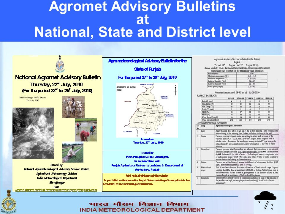 Agromet Advisory Bulletins National, State and District level
