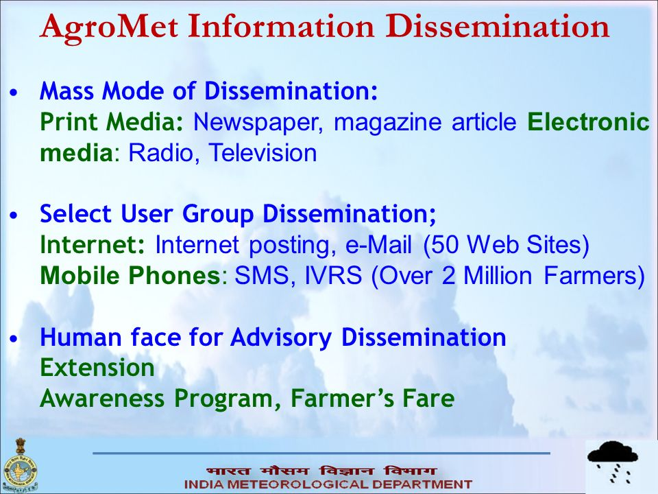 AgroMet Information Dissemination