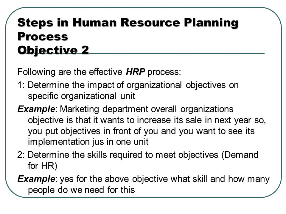 objectives by the end of the chapter you will be able to steps in human resource planning process objective 2