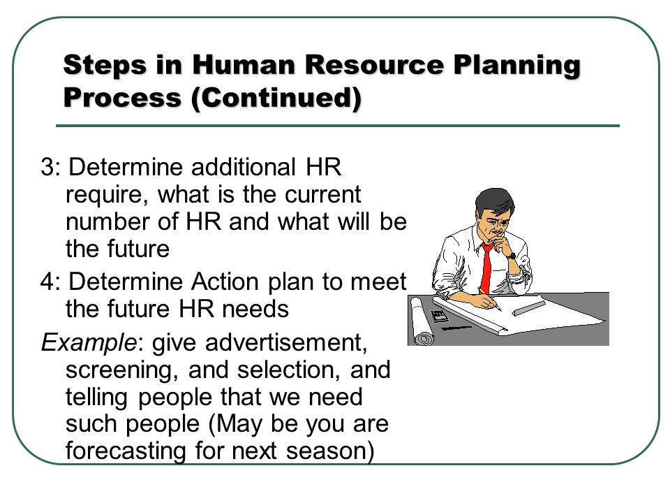 steps in hrp Steps in human resources planning hrp is critical to an organization's success as it aligns forecasted labour sup-ply (provided by the human resources department.