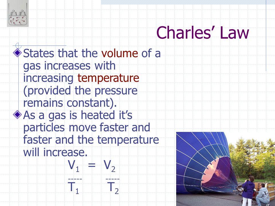 Charles' Law V1 = V2 ----- ----- T1 T2