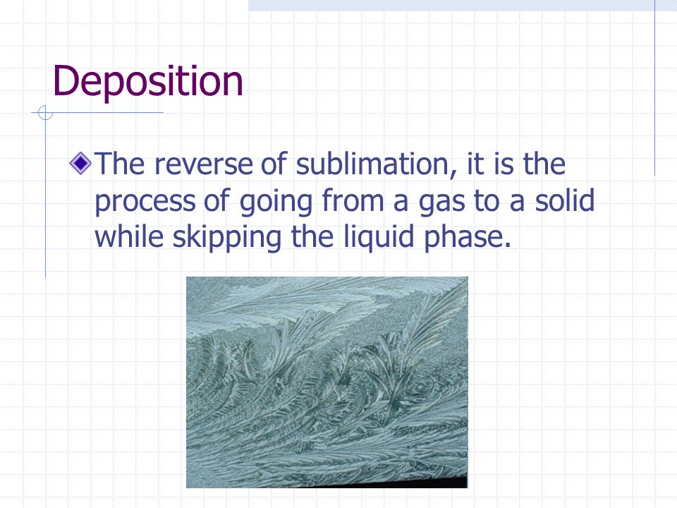 Deposition The reverse of sublimation, it is the process of going from a gas to a solid while skipping the liquid phase.