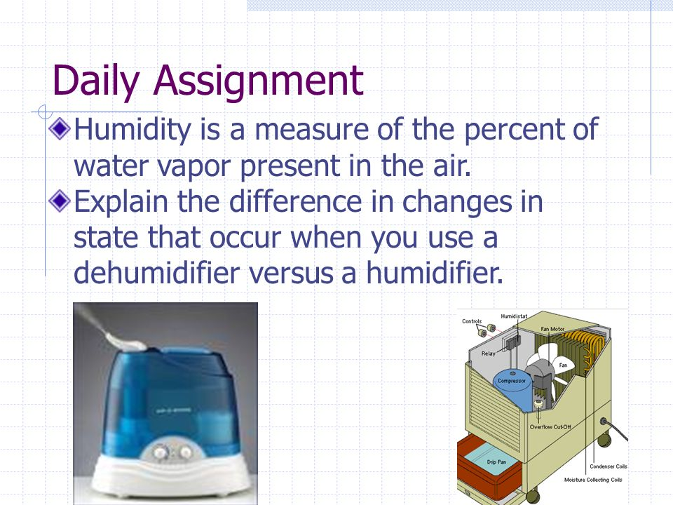 Daily Assignment Humidity is a measure of the percent of water vapor present in the air.