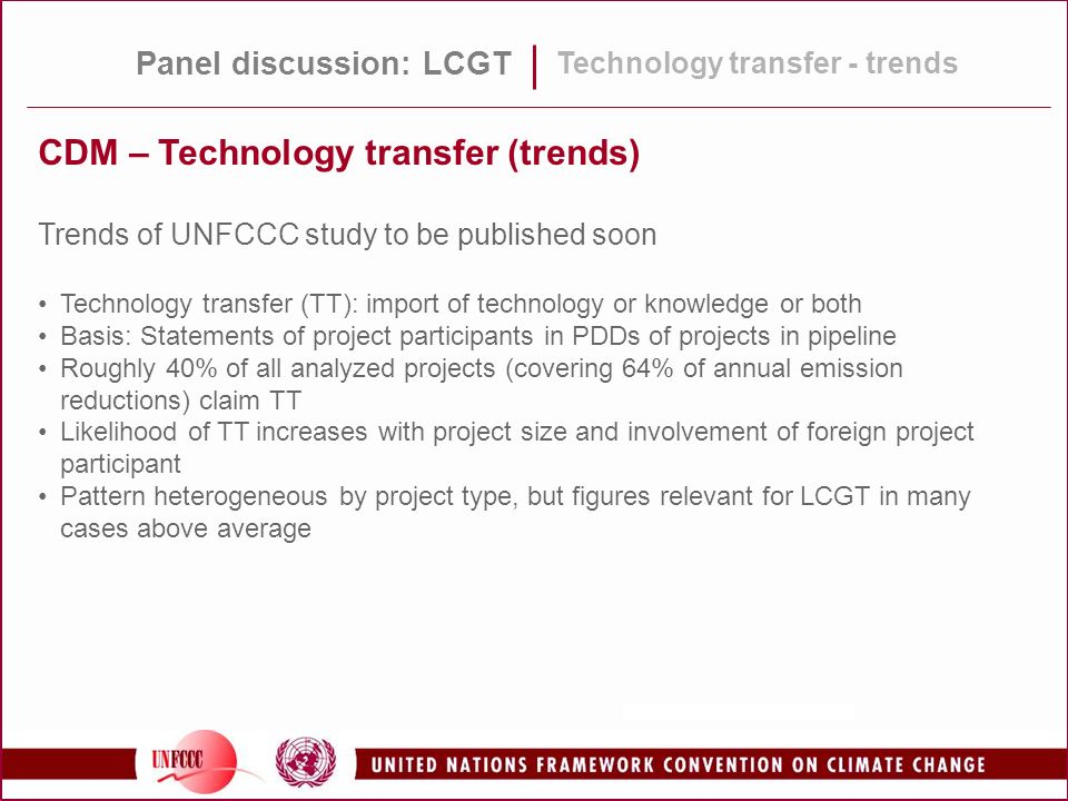 CDM – Technology transfer (trends)