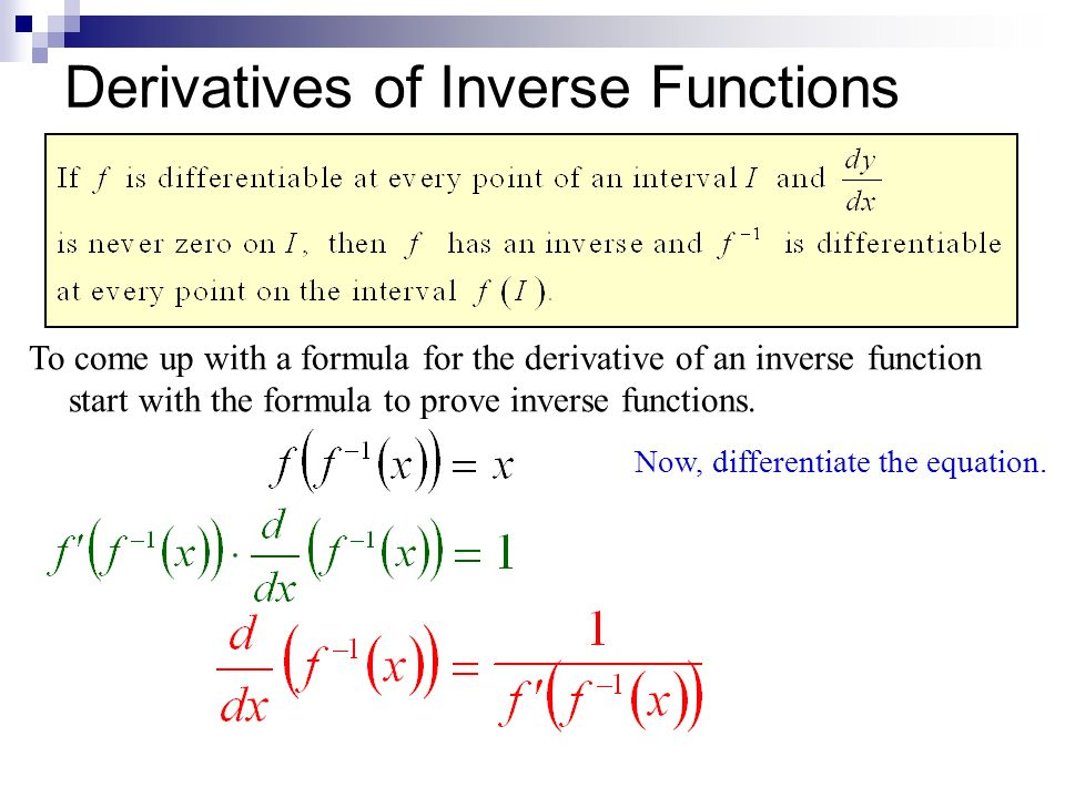 relationship between inverse functions and their derivatives integra