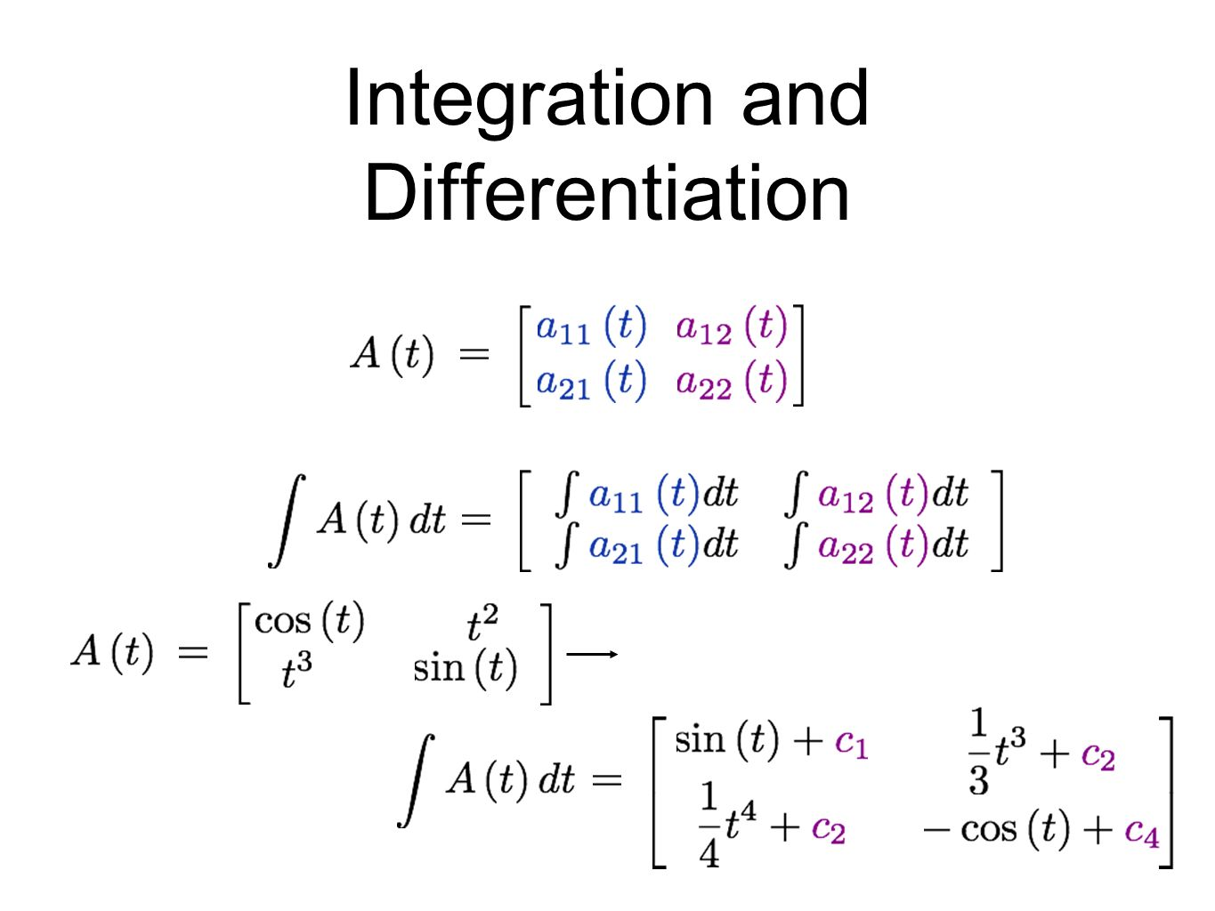 differentiation integration and matrices Mathematics (classes xi –xii)  of matrices and existence of non-zero matrices  integration as inverse process of differentiation integration of a variety of.