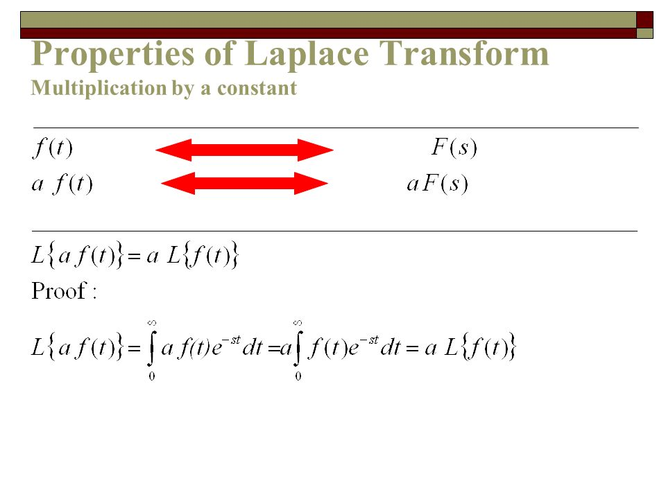 Properties of Laplace Transform Multiplication by a constant