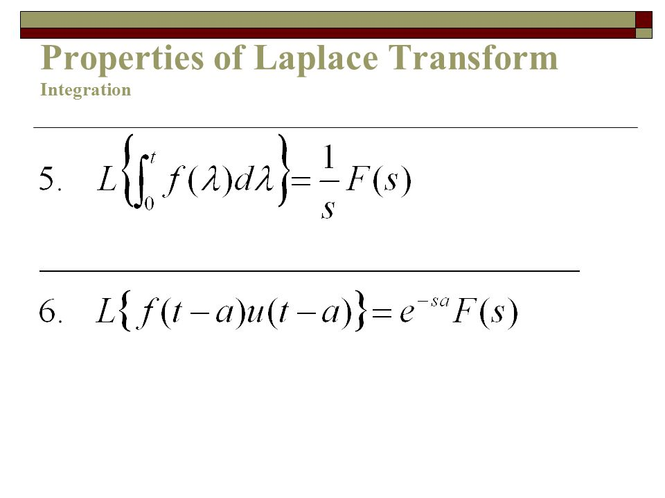 Properties of Laplace Transform Integration