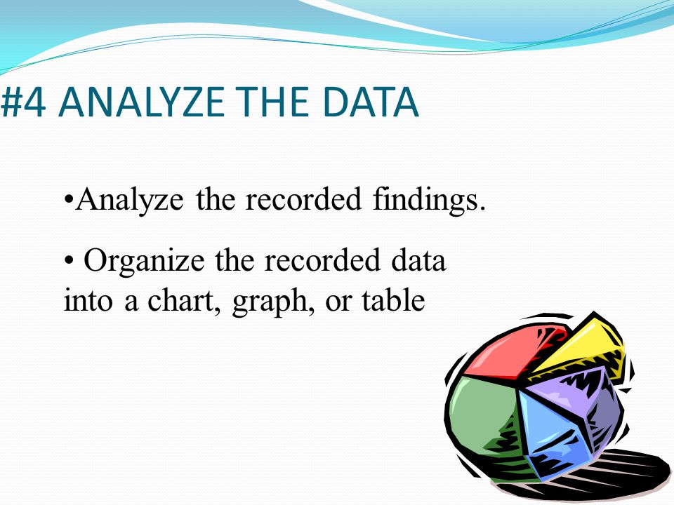 #4 ANALYZE THE DATA Analyze the recorded findings.
