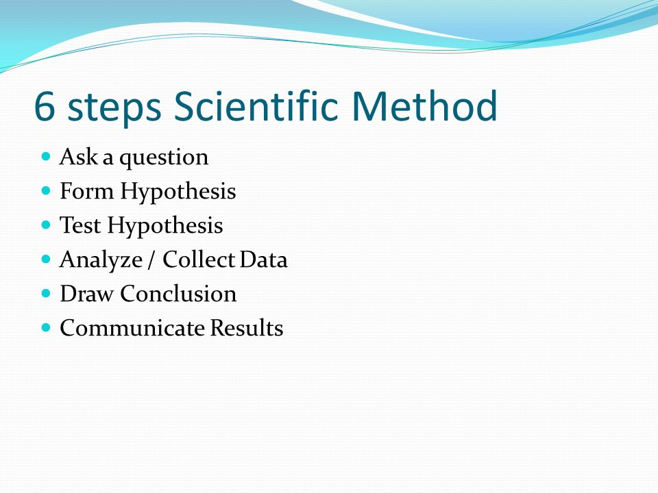 6 steps Scientific Method