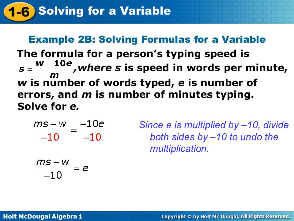 Example 2B: Solving Formulas for a Variable
